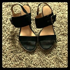 Black Heels with Buckle Accent